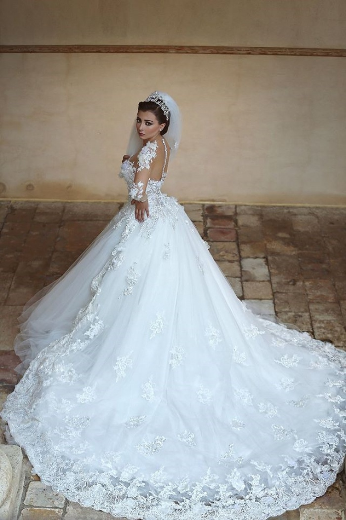 Beautiful White Tulle Ball Gown Wedding Dress Court Train Lace Plus Size Bridal Gowns 0