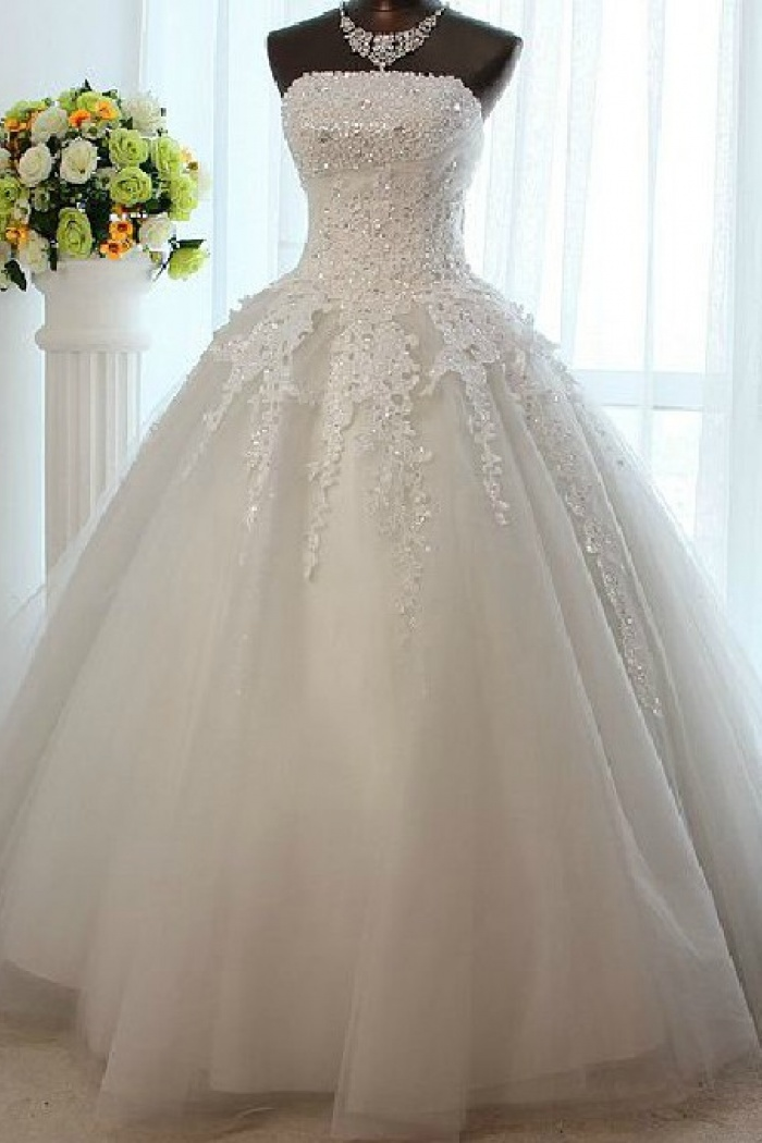 White Strapless Crystal Long Wedding Dress New Arrival Lace Floor