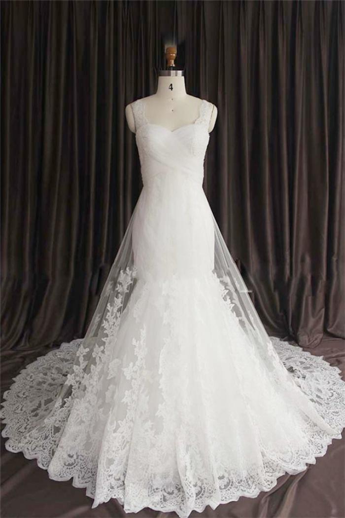 Sexy Lace Spaghetti Strap Mermaid Wedding Dress New Arrival Court Train Plus Size Bridal Gown Wisebridal Com