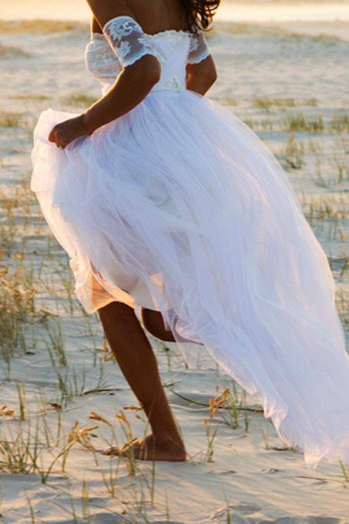 Bateau Short Sleeve White Chiffon Wedding Dress Latest Simple Lace Summer Beach Bridal Gowns Wisebridal Com