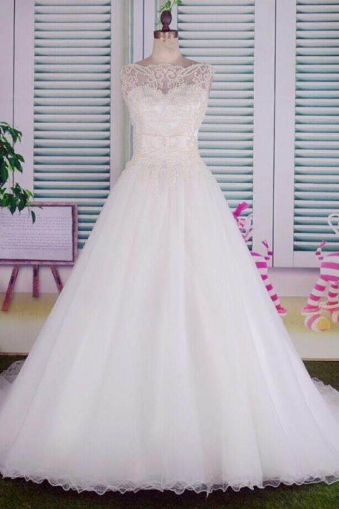 1e53b245d Elegant White Beading Long Bridal Gowns Bateau Court Train Tulle Ball Gown  Wedding Dress 0