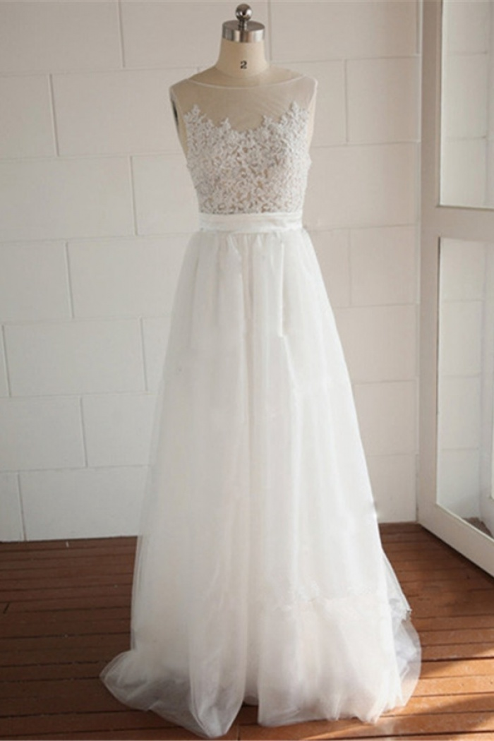 A Line Elegant White Lace Long Wedding Dress Simple Por Plus Size Bridal Gowns 0