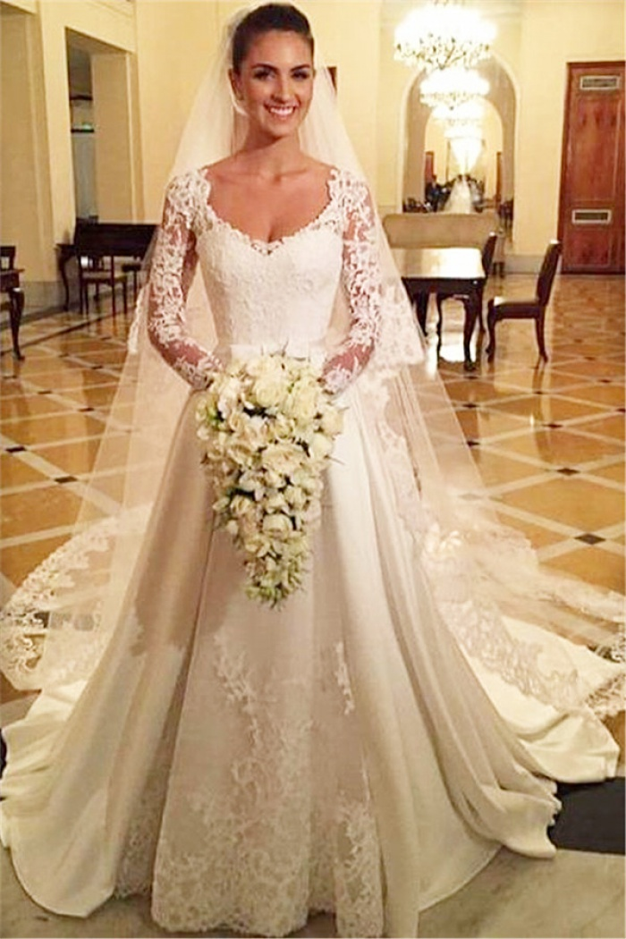Princess A Line Satin Wedding Dress White Lace V Neck Long Sleeve Bridal Gowns 0