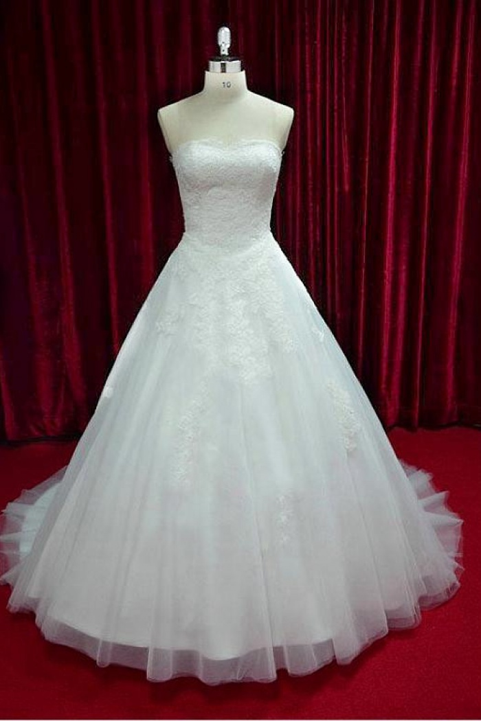 White Strapless Lace Long Wedding Dress Latest Tulle Sweep Train Plus Size Bridal Gowns 0
