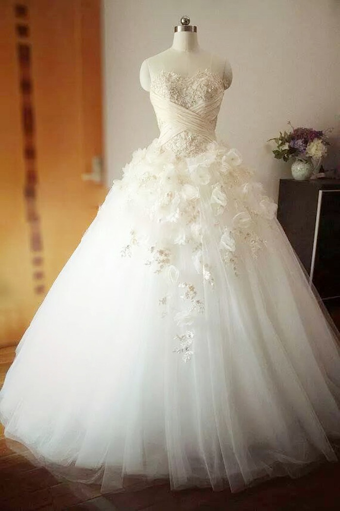 e035cce21cc0 Beautiful Flowers Crystal Long Wedding Dress Sweetheart Ruffles Tulle Ball  Gown Bridal Gowns 0