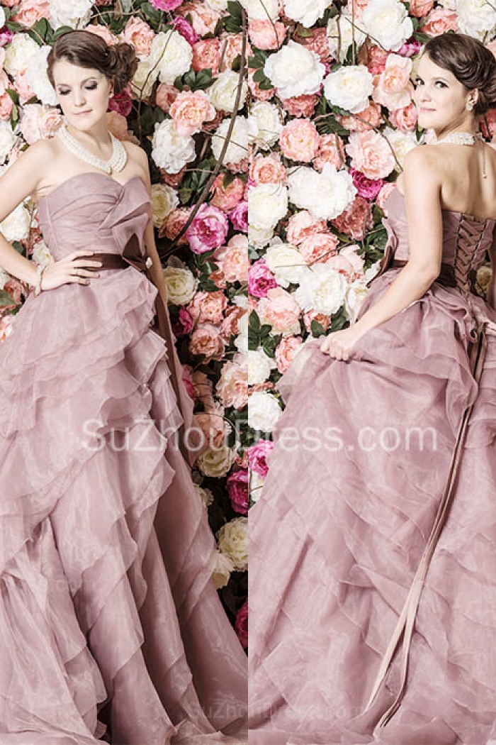Cute Tiered Sweetheart Long Prom Dress Latest Sweep Train Lace-Up ...
