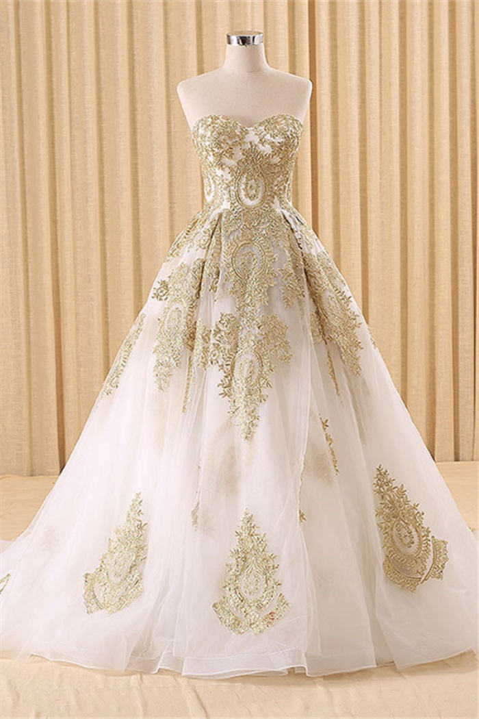Vintage Swwetheart Gold Lace Ball Gown Wedding Dress White Tulle Latest Formal Long Bridal Gowns 0