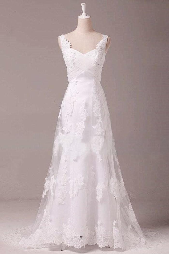 ad9570c0ed37 Vintage A-Line White Lace Long Wedding Dress Popular Applique Floor Length  Plus Size Bridal