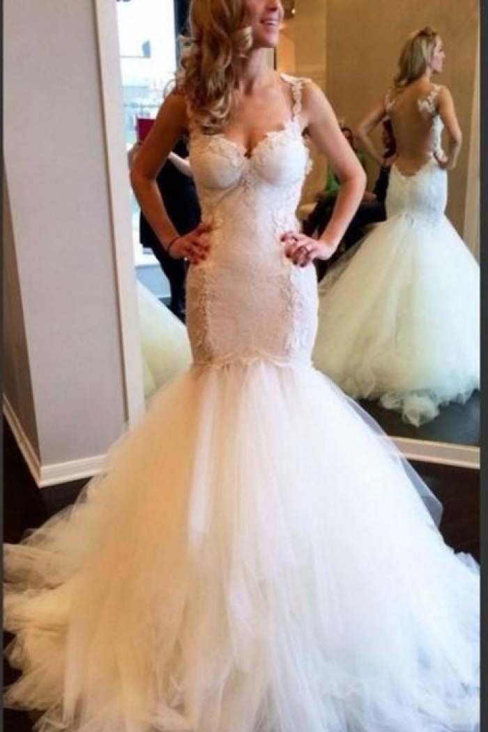 d7b138de89ae6 Sexy Mermaid Tulle Spaghetti Strap Wedding Dresses White Floor Length  Trumpet Lace Bridal Gowns 0