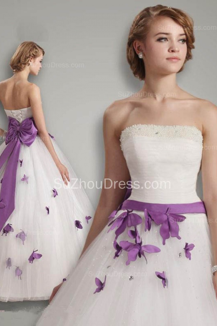 c3c2edc1f Elegant White Strapless Ball Gown Long Wedding Dresses with Purple  Butterfly Unique Beading Sash Bowknot Bridal