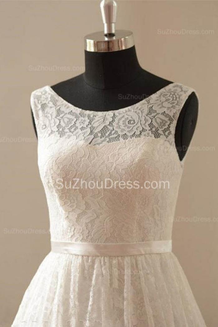 a39e6ff1bd0 Cute White Short Lace Beach Wedding Dresses Cheap Knee Length Zipper  Popular Summer Prom Dress for