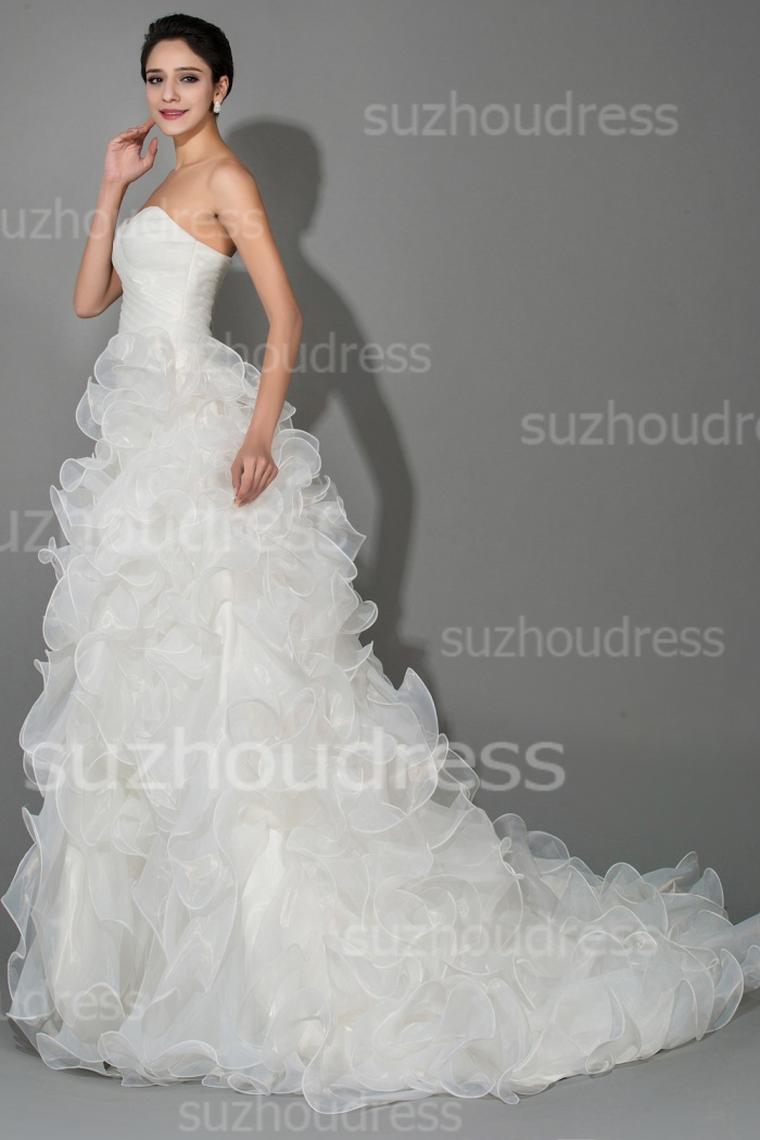 White Elegant Tiered Sweetheart Organza Wedding Dresses Ball Gown ...