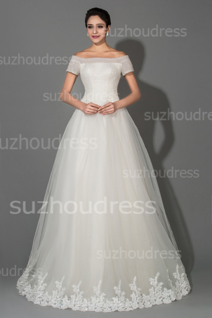 Off Shoulder Short Sleeve Ball Gown Princess Wedding Dresses with ...
