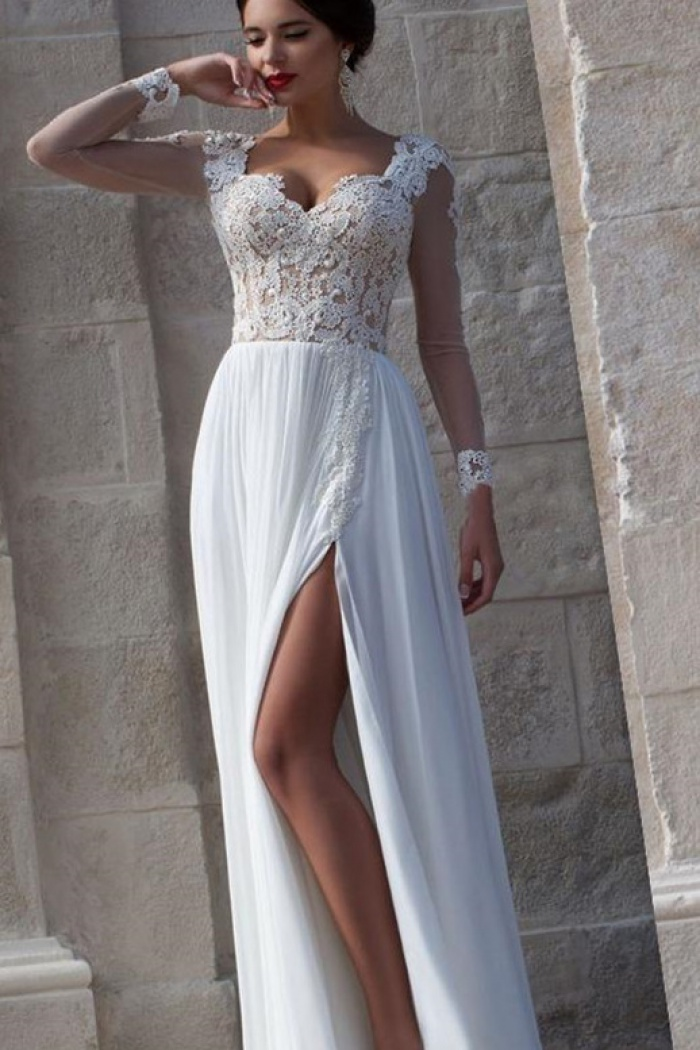 White Lace Sheer Long Sleeve Wedding Dresses Side Slit Chiffon