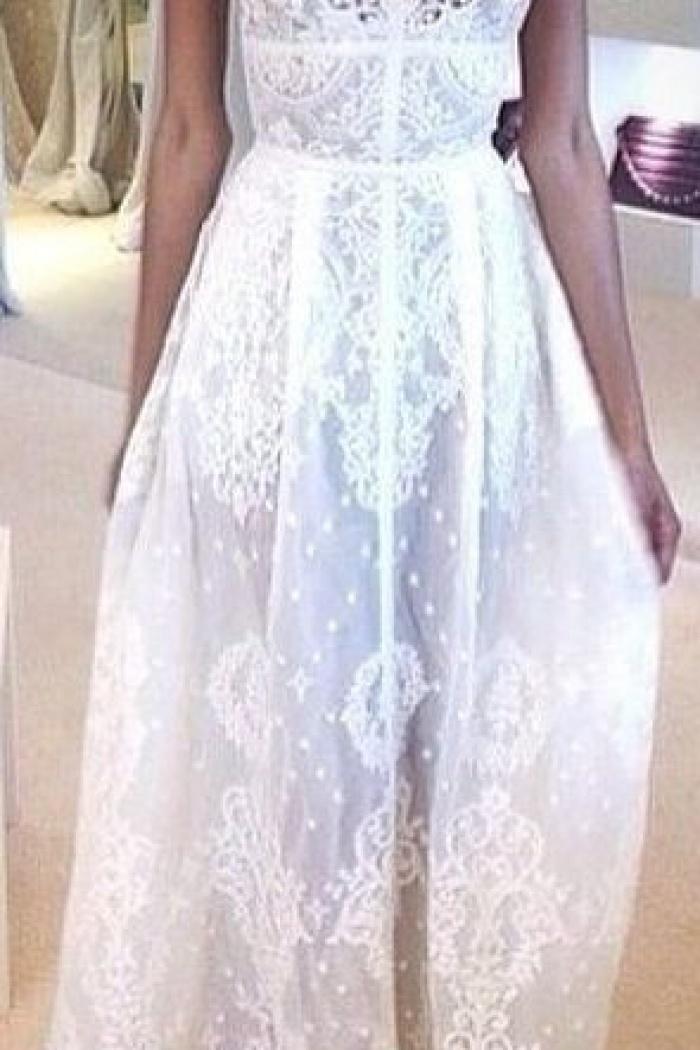 Chiffon White V-Neck Bridal Gowns Spaghetti Straps Lace Zipper Cute ...