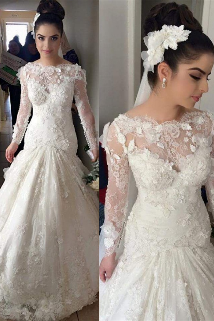 d442e898588 Mermaid Long Sleeve 2018 Wedding Dresses with Train Gorgeous Lace Appliques Bridal  Gowns BO8376 0