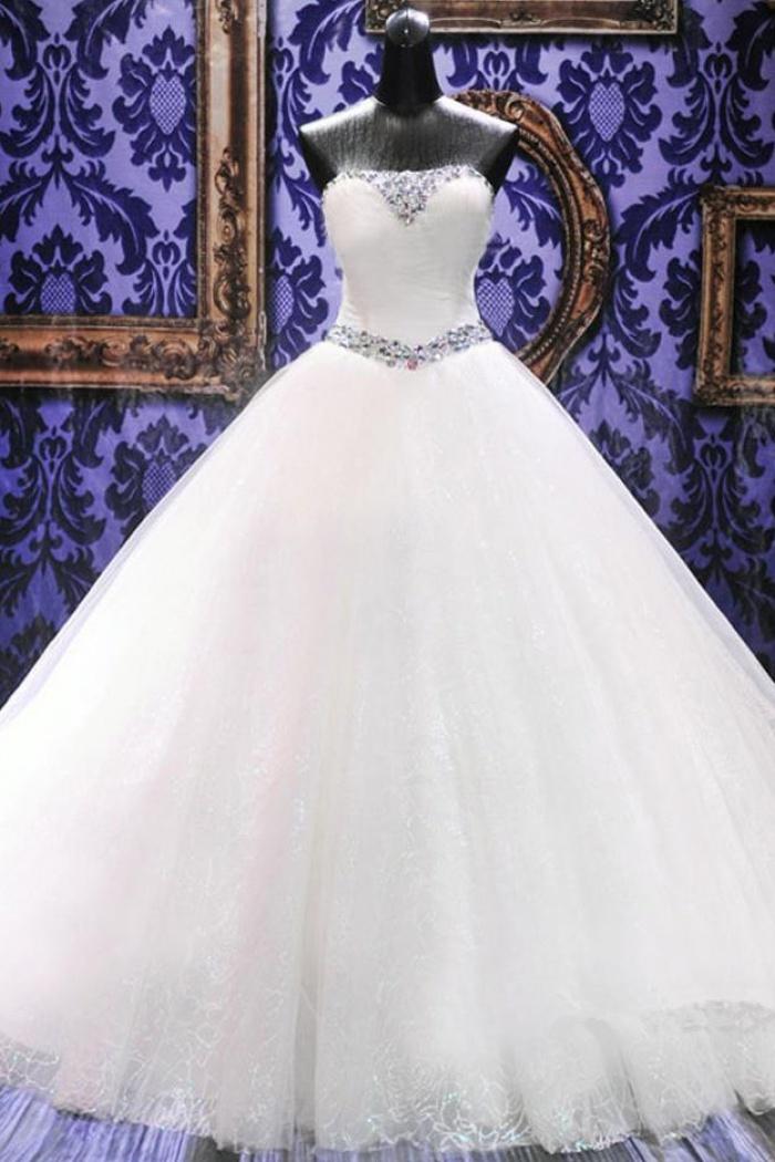 Rhinestone Cathedral Train Lace Wedding Dresses Lace-Up Elegant ...