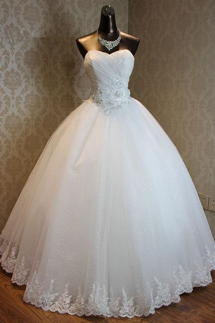 Lace Up Sweetheart Ball Gown Princess Bridal Dresses Strapless Lace