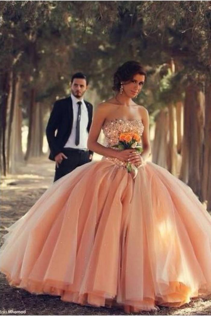 pink tulle ball gown wedding dresses 2018 sweetheart vestidos de