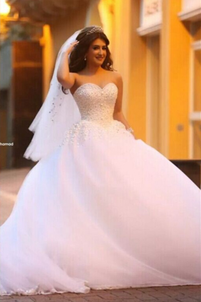 Pure White Sweetheart Princess Ball Gown Wedding Dress Tulle Beading Cute Por Bridal 0