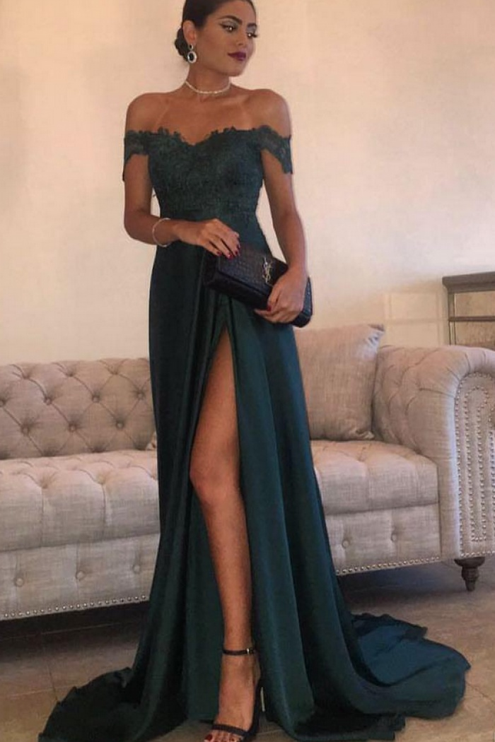 6176d328bd0e Floor-Length Sexy Prom Dresses Off-the-Shoulder High Side Split Dark Green