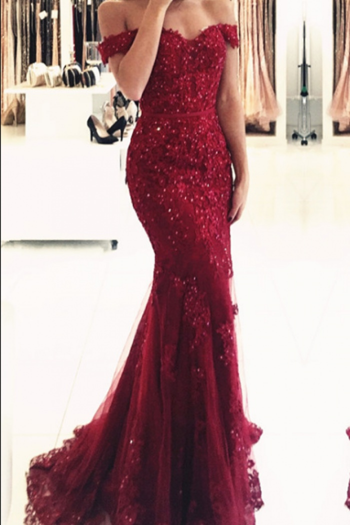 73b7ef6ba53 Glamorous Off-the-shoulder Appliques Mermaid Lace Prom Dress Red Evening  Dress 0
