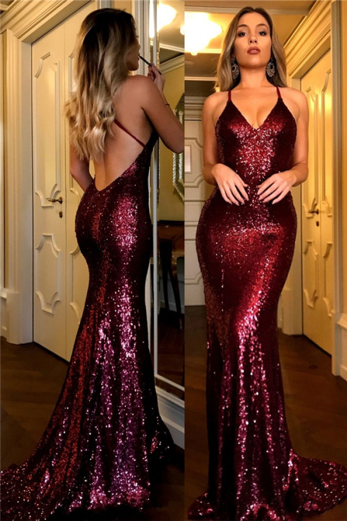 Sequin Prom Dress Burgundy