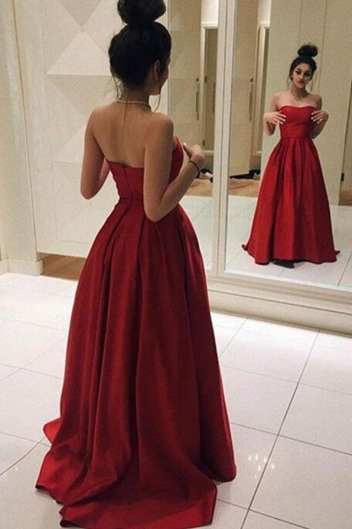 ff1de612a9 Simple Elegant Red Satin Long Prom Dress - Wisebridal.com