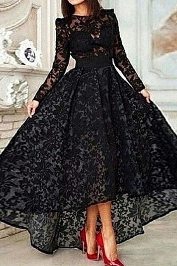 Vintage Asymmetrical Long Sleeve Black Ball Gown High Low Lace Prom ...