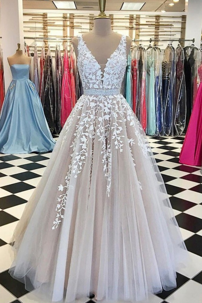 eec890ab5a9d7 Sexy Appliques V neck Tulle Lace Long Ball Gown Prom Dress ...