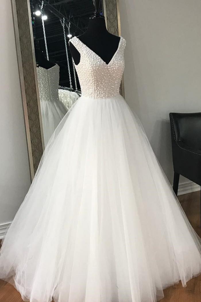 V Neck Princess Wedding Dress