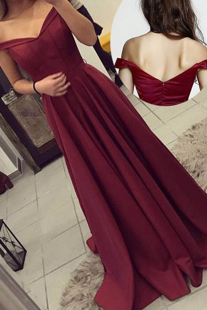 f6db13842b Simple Off the shoulder Sweep Train Satin Burgundy Long Prom Formal Dress 0