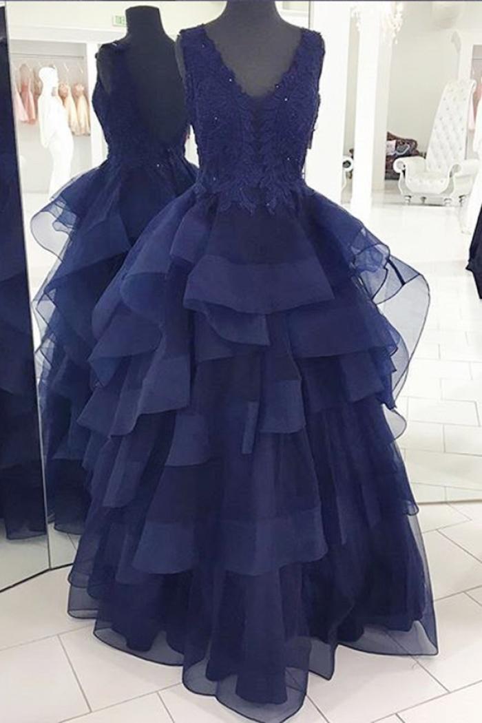 Floor-Length Backless Appliques Beading Navy Blue Organza Evening Dress -  Wisebridal.com