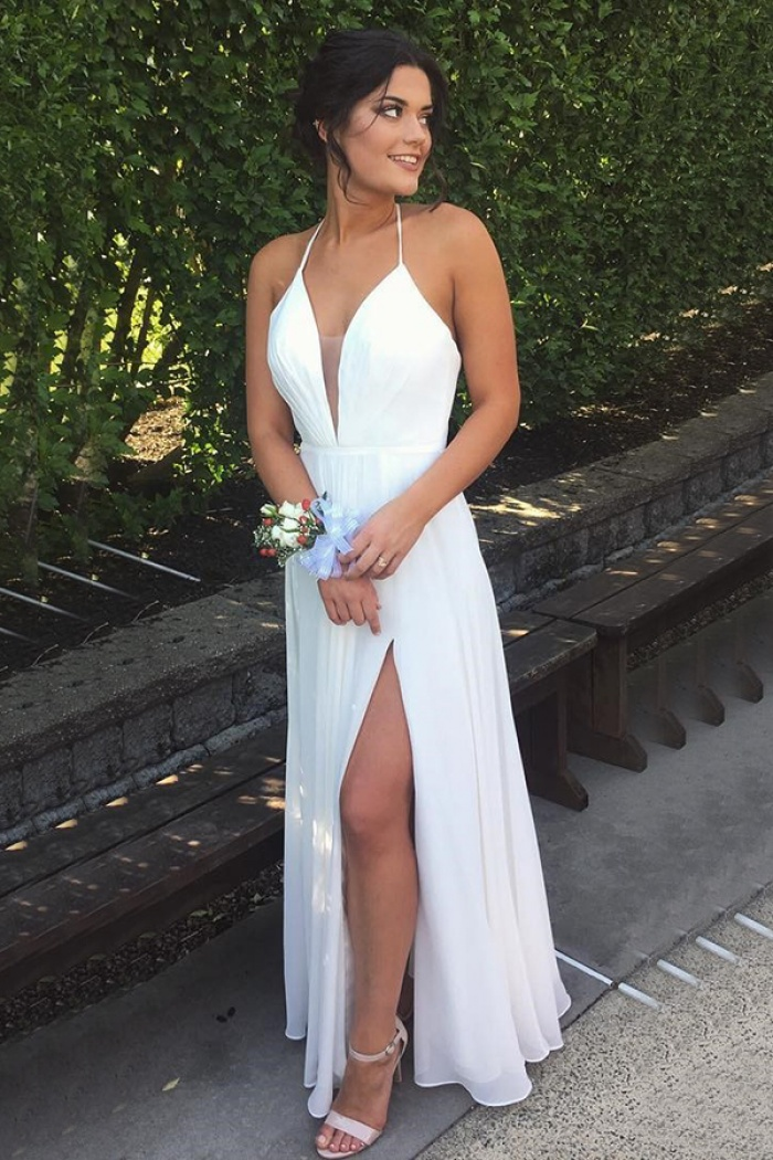4d7a9dde2b8e Simple A-line Halter Split White Backless Prom Dress - Wisebridal.com