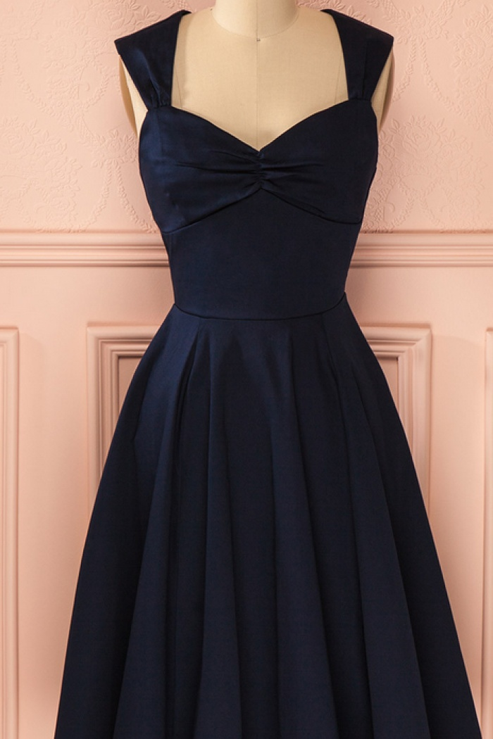 Vintage Navy Blue Knee-length Cute Short Homecoming Dress