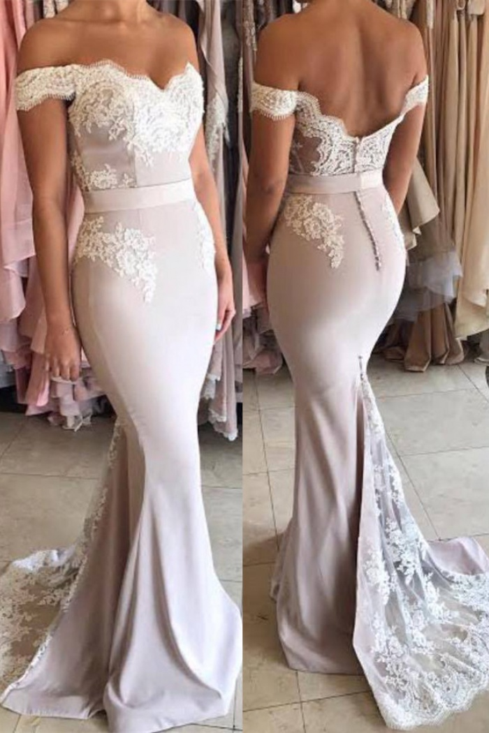 Off The Shoulder Open Back Lace Mermaid Formal 2018