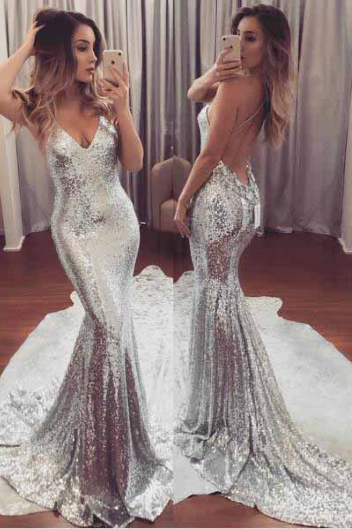 Sexy Mermaid Silver Sequined Backless Prom Dress Long