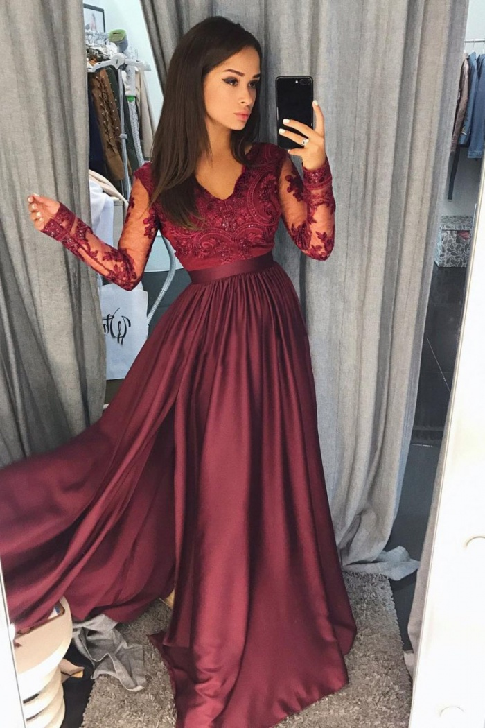 0d2de1c669 Sexy A Line Burgundy Long Sleeve 2018 Lace Prom Dress With Split ...