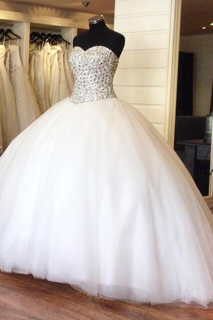 648a6beba65 Crystal Princess Organza Beading Sweetheart Ball Gowns Wedding Dress Bridal  Dress 0