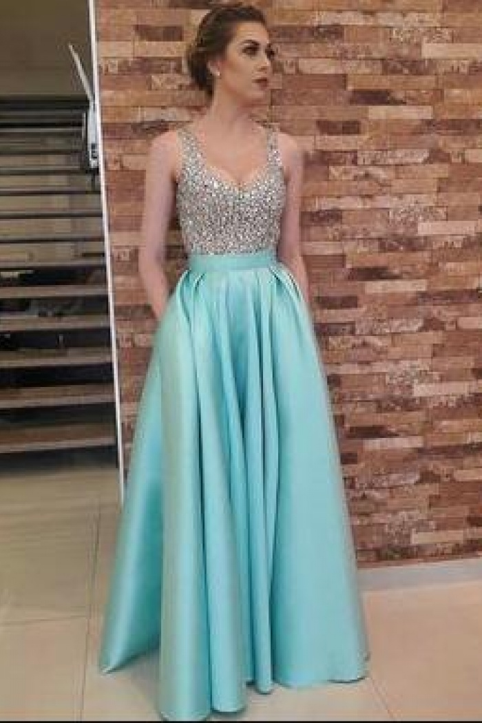 Sexy A Line Long Satin Beaded Prom Dresses Sexy Party