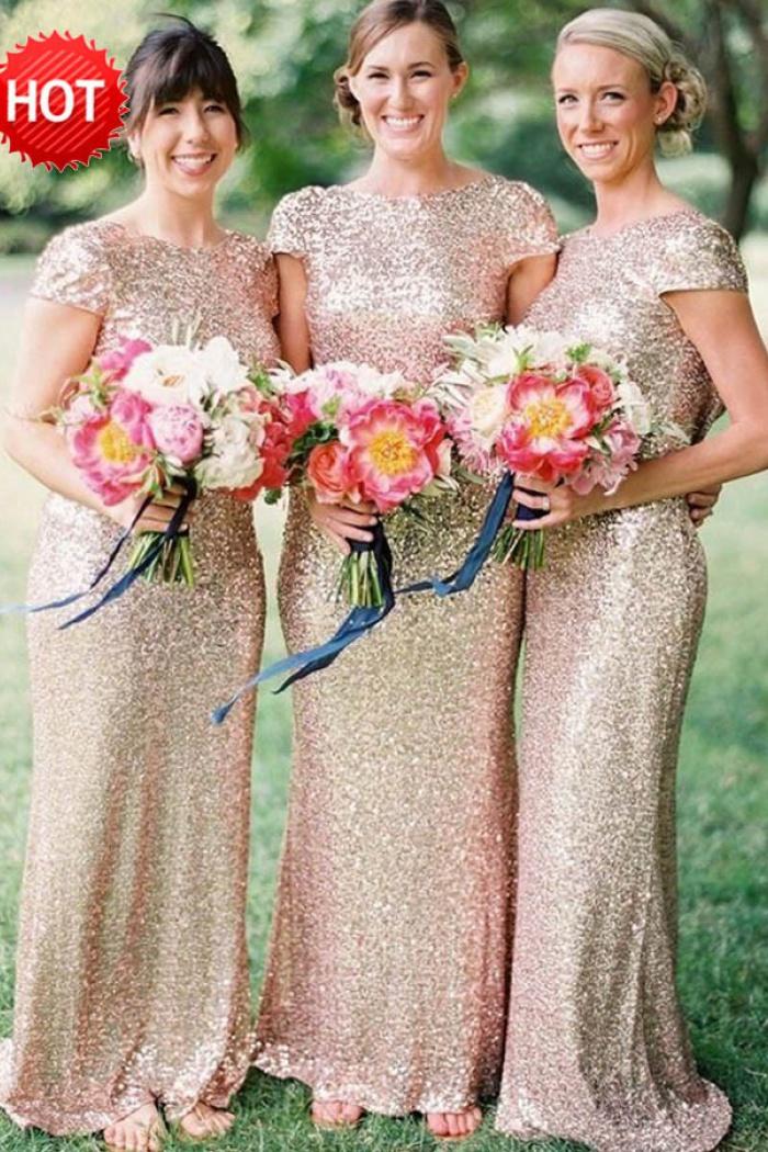 996e6b0f2df Mermaid Bateau Cap Sleeves Champagne Sequined Bridesmaid Dress ...