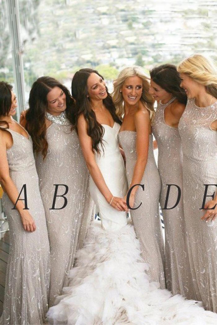 Mermaid Sweetheart Floor Length Light Grey Tulle Bridesmaid Dress With Beading 0