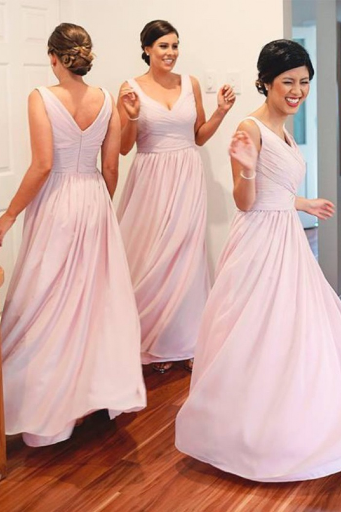 6db5c02f45 Simple A-Line V-Neck Floor Length Pink Bridesmaid Dress with Ruched ...