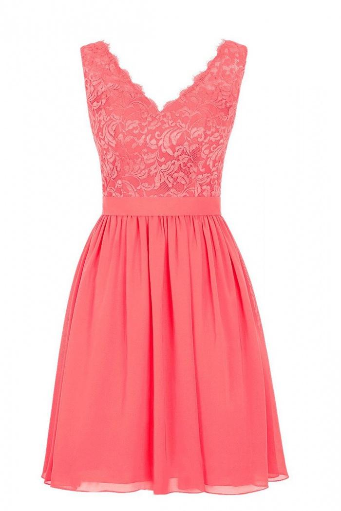 Elegant V Neck Short Chiffon Coral Bridesmaid Dress Wedding Party Dress Wisebridal Com