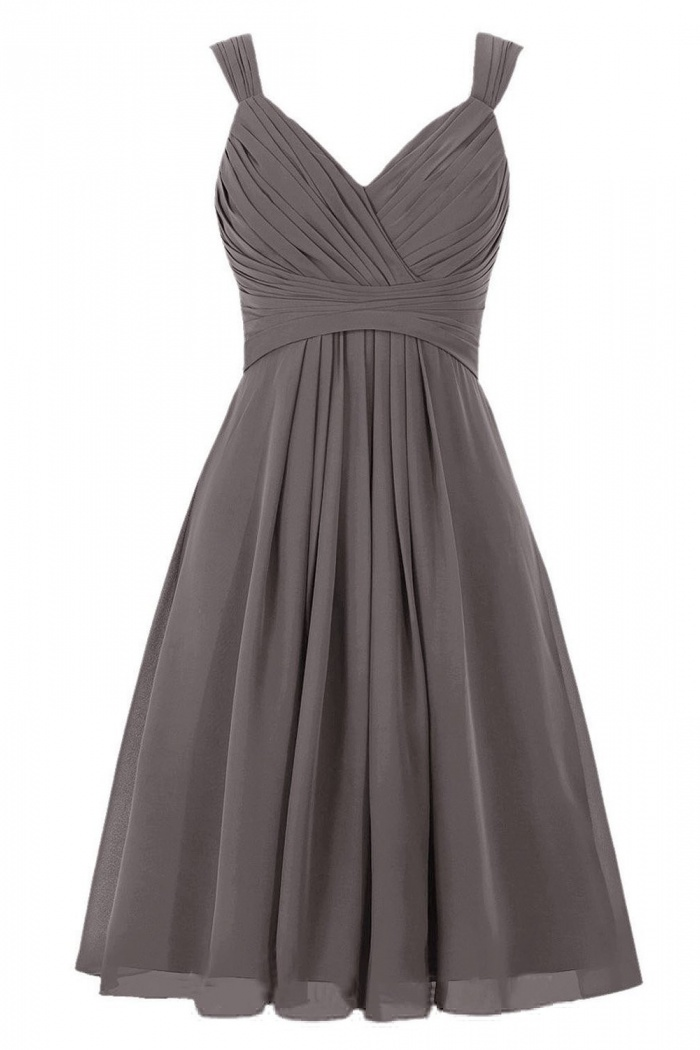 58d9a0b1cd4a Simple A-line V-neck Short Chiffon Knee-length Bridesmaid Dress/Wedding