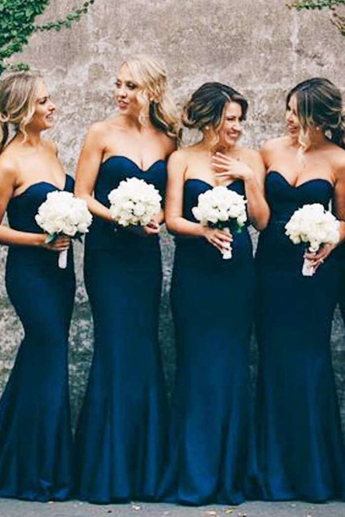 f237bbc636e9 Mermaid Sweetheart Navy Blue Stretch Satin Sweep Train Bridesmaid Dress 0