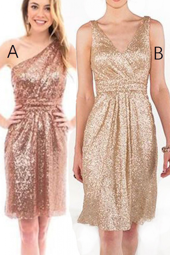 Shinning One Shoulder Short Gold Sequines Bridesmaid Dress Ruched