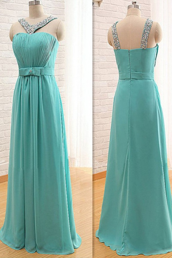 fc18fdae5b86 Stylish V-neck Floor-Length Turquoise Bridesmaid Dress with Beading Bow 0