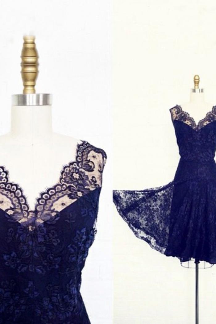 c7a4e9945d63 Simple-dress 1940s Vintage Short Lace Royal Blue Bridesmaid Dresses  LAPD-7164 0