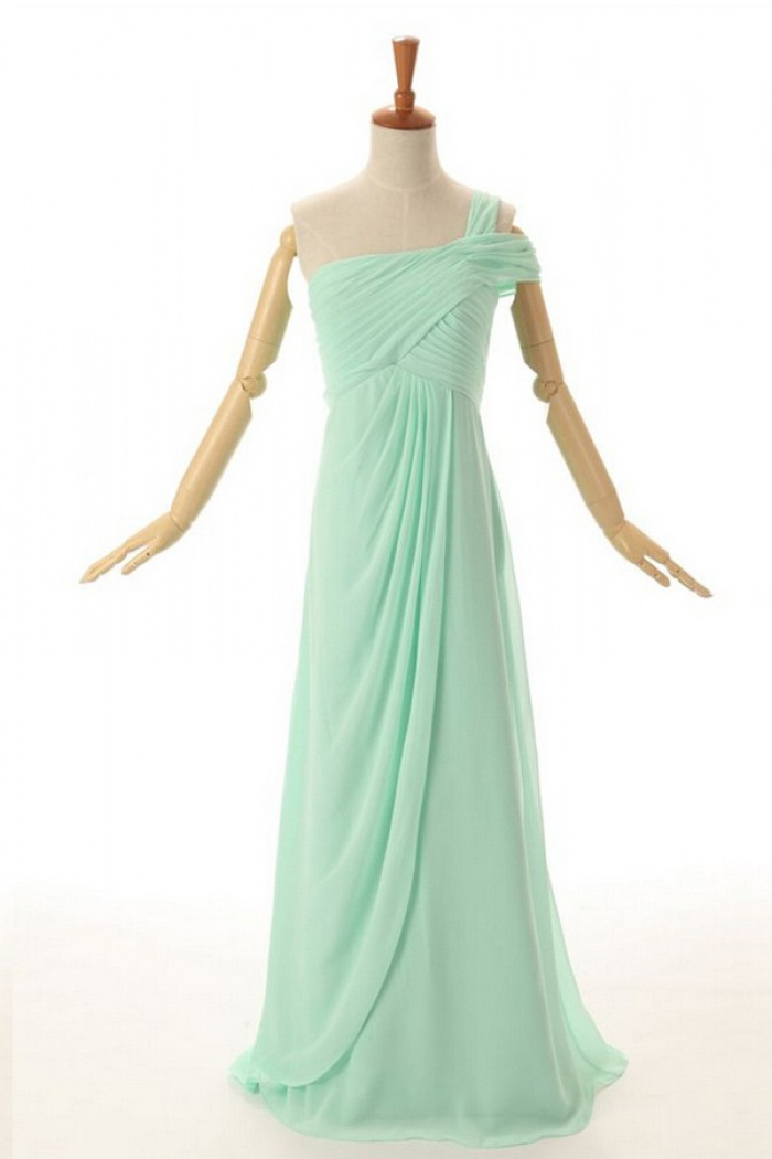 a054d2bfa61ef New Style A-line One Shoulder Floor Length Chiffon Mint Bridesmaid Dress  With Ruched 0